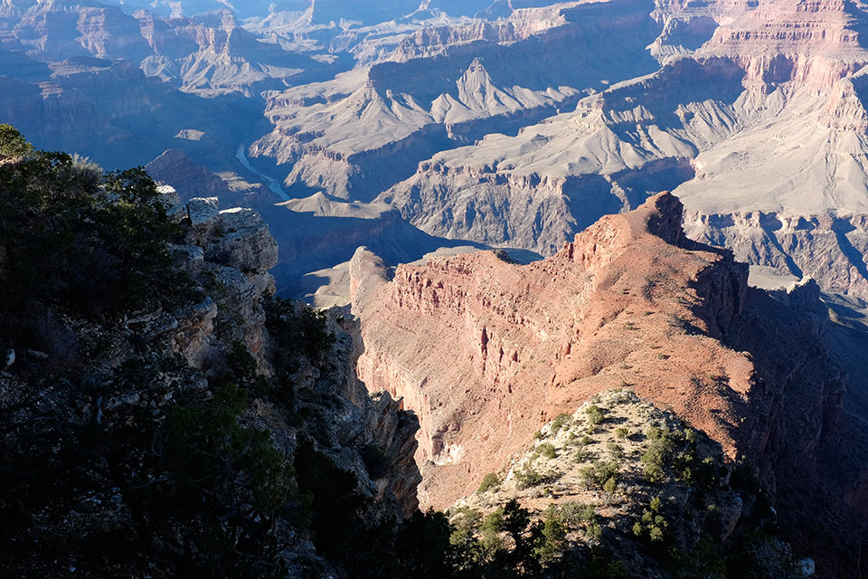 The Colorado River is barely visible from the rim. It can be seen in this photo though.